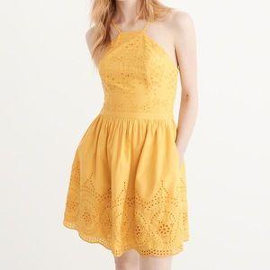 NEW NEVER WORN Yellow Eyelet Dress Abercrombie